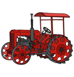 Vintage red tractor vector