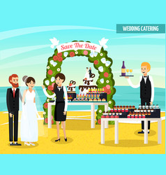 Wedding catering orthogonal flat composition vector