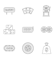 Win icons set outline style vector image