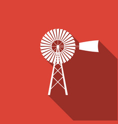 Windmill icon isolated with long shadow vector