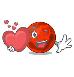 With heart mars planet mascot cartoon vector