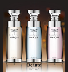 Women perfume bottles collection fragrance vector