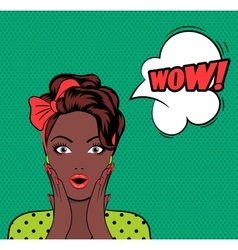 WOW bubble pop art woman face vector image
