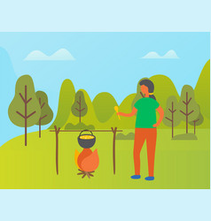 Young woman cooking food picnic in park forest vector