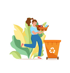 Young woman throwing plastic garbage into vector