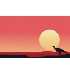 At afternoon Parasaurolophus landscape silhouettes vector image