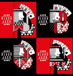 black jack poker casino gambling king chip vector image