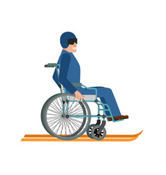 disabled skiing isolated wheelchair ski running vector image vector image