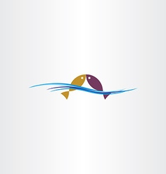 fish in water logo sign design element vector image