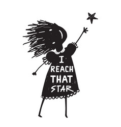 girl or kid reaching the high star vector image