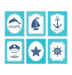 Nautical and sea cards badges and labels vector image
