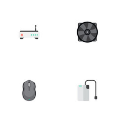 set of computer icons flat style symbols with fan vector image vector image