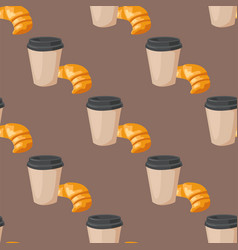 sweet delicious croissant coffee cup morning vector image