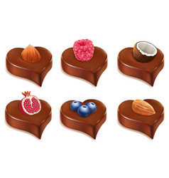 chococolate candy heart with different fruits vector image vector image