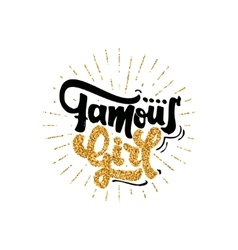 Famous girl calligraphy gold paint similar to vector