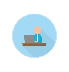 flat icon with office worker sitting at vector image vector image