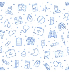 Hospital pattern blue icons vector image vector image