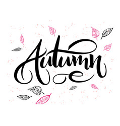 autumn hand lettering label with doodle vector image vector image