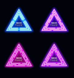 Blue violet neon light triangles set techno frame vector