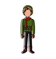 boy with winter clothes vector image vector image