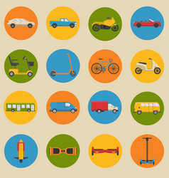 flat style collection of transport icons vector image vector image