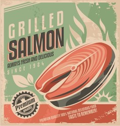Grilled salmon retro poster design vector image