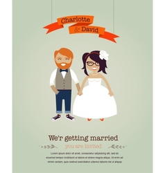 Hipster wedding invitation card vector image