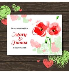 Wedding invitation card with watercolor poppy vector image vector image