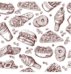 fast food seamless pattern hand drawn vector image vector image