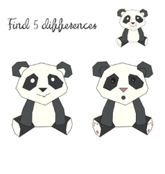 Find differences kids layout for game panda bear vector image