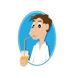 Man drinking juice vector