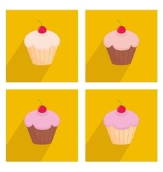 Sweet cherry cupcake icon set on yellow background vector image vector image