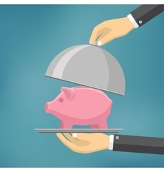 The businessman offering piggybank on the clothe vector image vector image