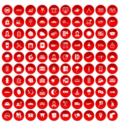 100 dispatcher icons set red vector