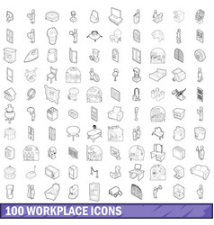 100 workplace icons set outline style vector