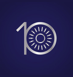 10th anniversary years with a circle sun vector image