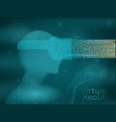 abstract vr concept man wearing virtual reality vector image