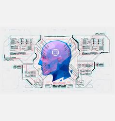 advanced ai from futuristic hud interface facial vector image