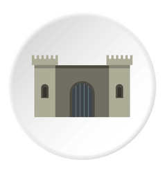 ancient fortress icon circle vector image vector image