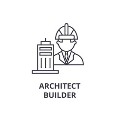 Architect builder line icon sign vector