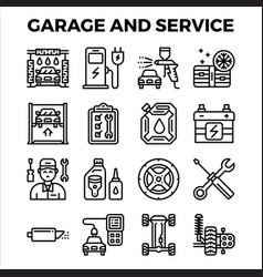 Automotive garage and service outline icon vector