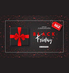 Black friday sale background with gift box and vector