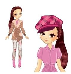 Brunette Girl In Elegant Pink Hat vector image