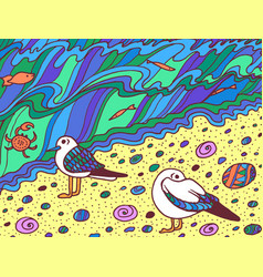 cartoon doodle artwork with seagull and sea waves vector image