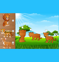 Cartoon wild animal collection find the correct s vector