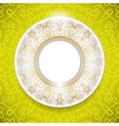 Ceramic Ornamental Plate Isolated on Yellow vector image