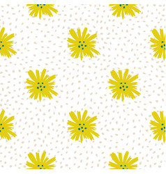 Chamomile flowers seamless pattern daisy pattern vector