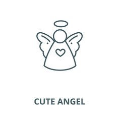 christmas cute angel line icon christmas vector image