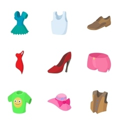 Clothing for body icons set cartoon style vector image