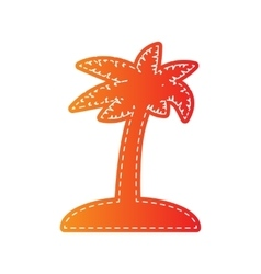 Coconut palm tree sign Orange applique isolated vector image